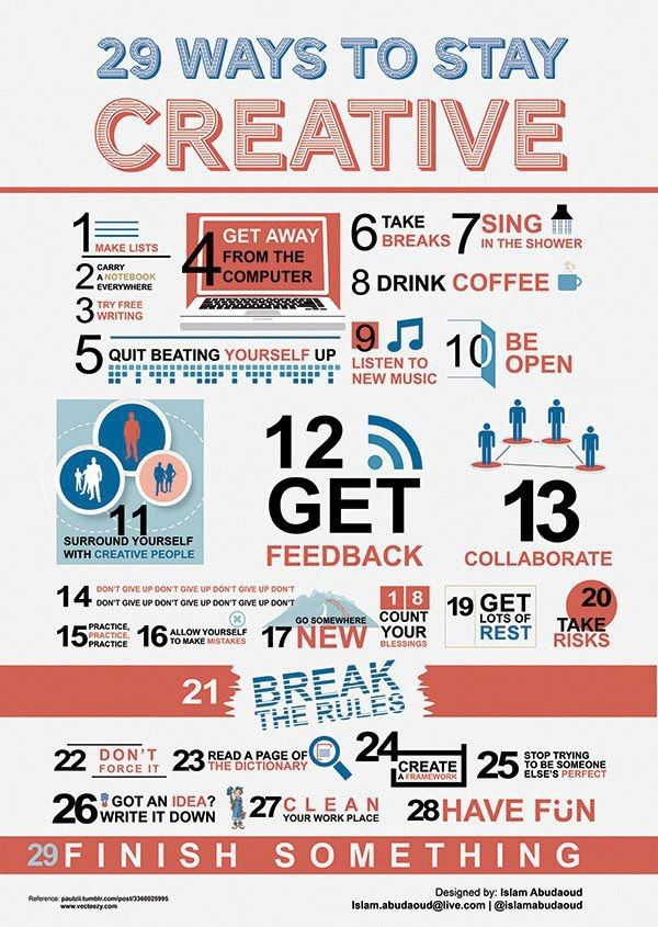 29 Ways to Stay Creative - relate! so true and absolutely brilliant!