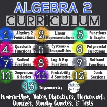 Algebra 2 Curriculum Bundle - WOAH! The whole year of A2 resources with rigor, innovation, and helpful guided notes. Sing me up!