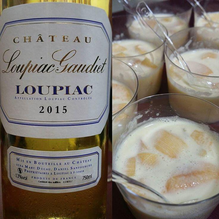L'accord parfait #Loupiac & panacotta nectarine by @toutlevin #vinexpobdx  #sharebordeaux #winelover#winetasting