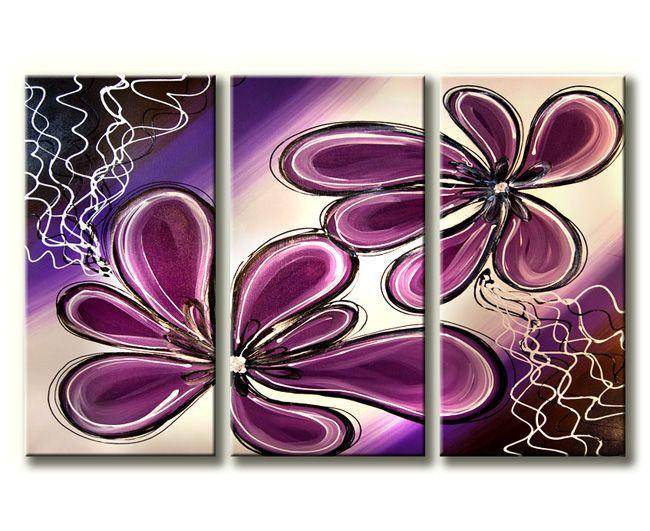 Dit is geen 5 luik schilderij maar een 3 luik schilderij met abstract geschilderde paarse bloemen.