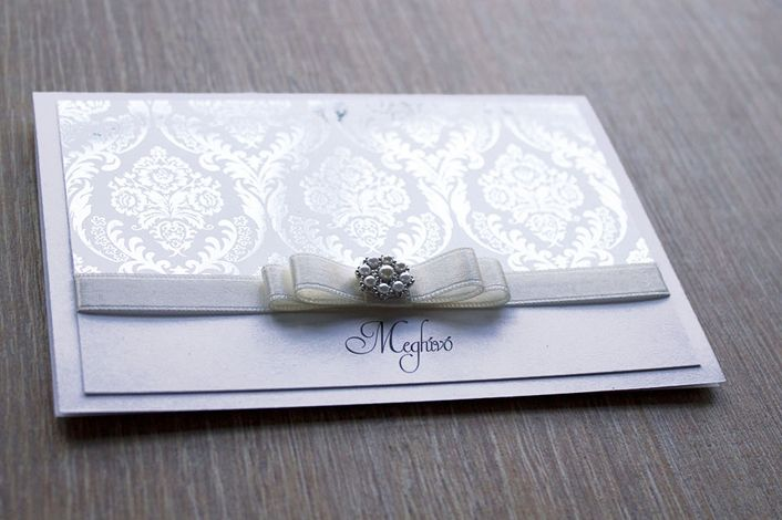 flocked paper wedding invitation, wedding invitation with ribbon