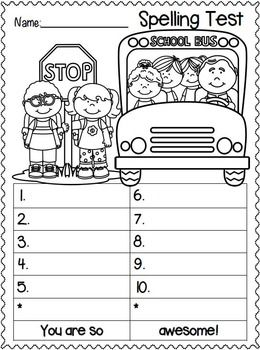 Spelling test FREEBIES. Students can color the picture while they are waiting for the next word, or waiting for everyone to complete their quiz. Add a little fun to test taking. My kiddos LOVE these.
