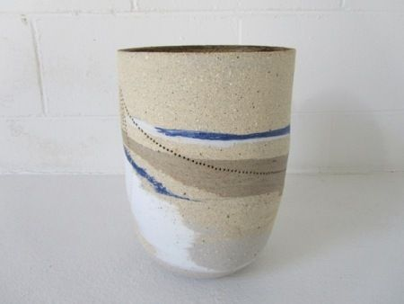 Megan Puls     Large vessel     Pierced mixed recycled clays with porcelain     28 x 20 cm