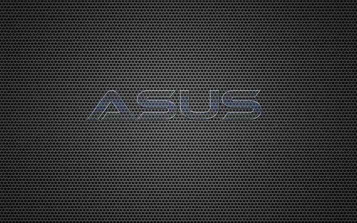Download wallpapers Asus, logo, grid, metal backgroud, glass letters