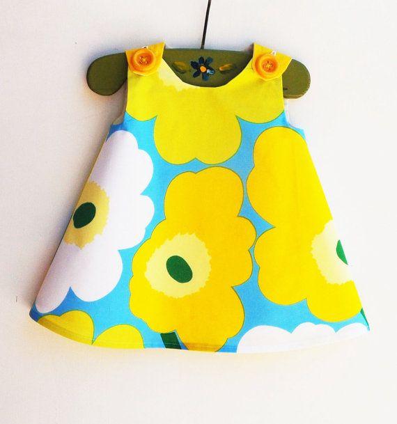 Marimekko Dress - Birthday - Yellow and White - Infant Dress - Baby Shower - Speical Occasions - Handmade Childrens Fashion - 12M ONLY