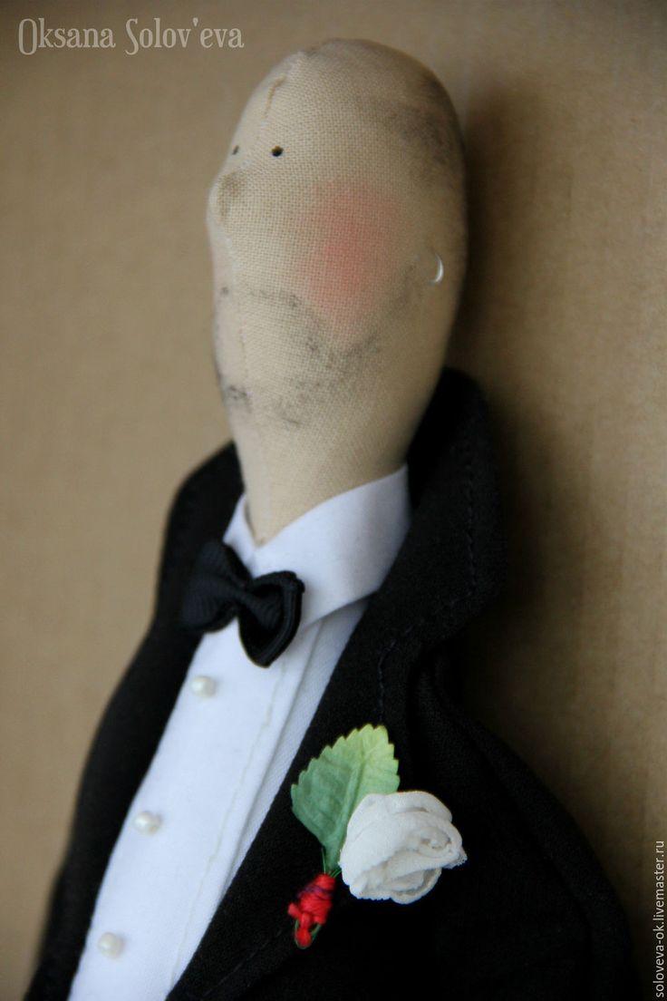 Купить Свадебная пара в стиле Тильда - чёрно-белый, красный, свадьба, портретная, подарок, свадебный