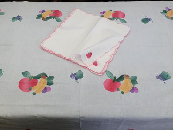 Applique Linen Tablecloth with 8 Napkins. Vintage Handmade Linen Tablecloth Set. Never Used Large Vintage Tablecloth with 8 Napkins RBT1763