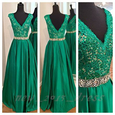 Emerald Green Lace V-neck Long Prom Dress Formal Pageant Evening Gowns Custom