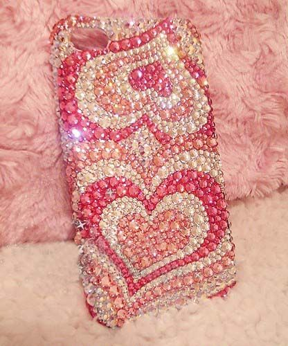 Pink bling heart iphone case