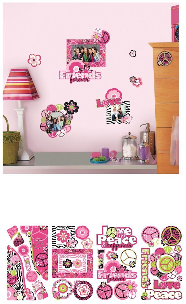 Peace Signs Frames Wall Decals With Glitter   Wall Sticker Outlet