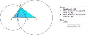 Geometry Problem 1018: Right Triangle, Circles, Angle. School, College