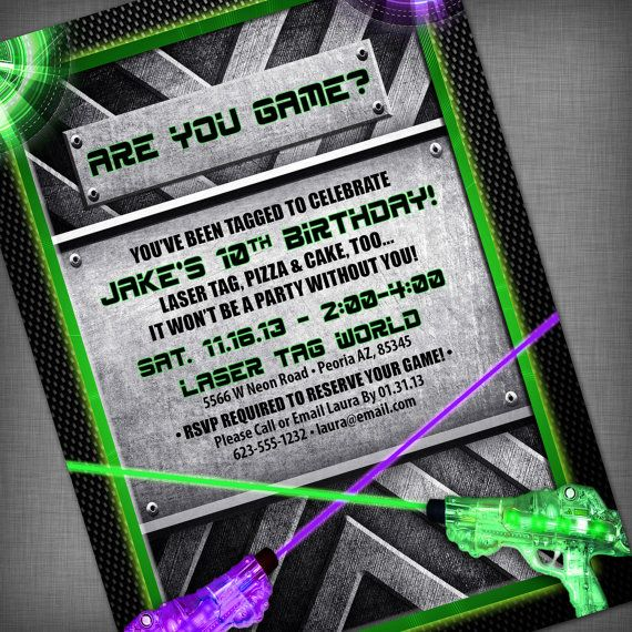 Laser Tag Party Customized Printable Invitation. $13.95, via Etsy.