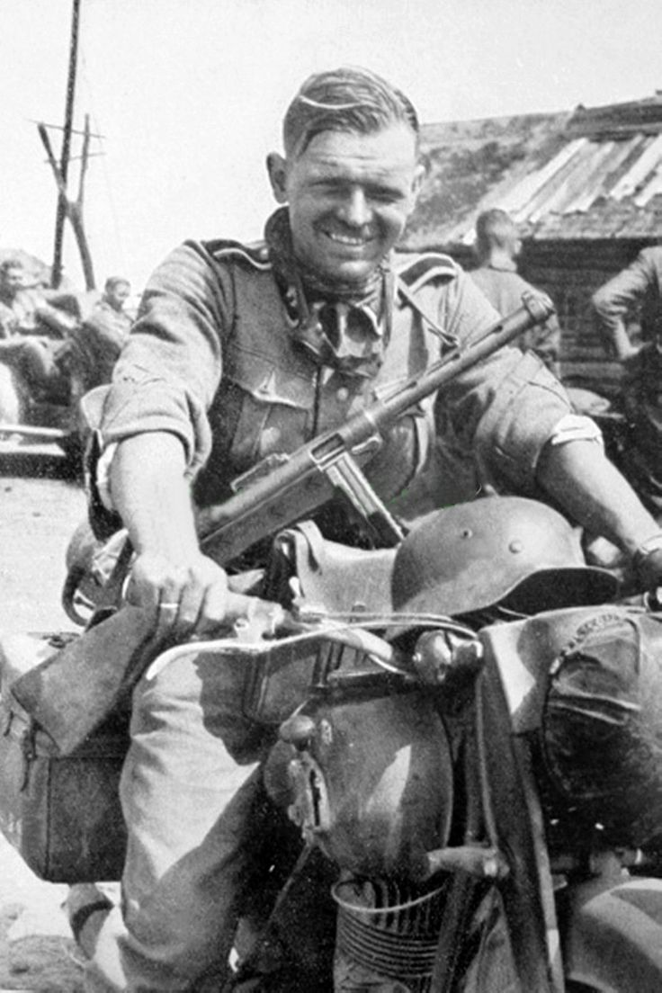 German soldier in Ostfront with PPSh-41