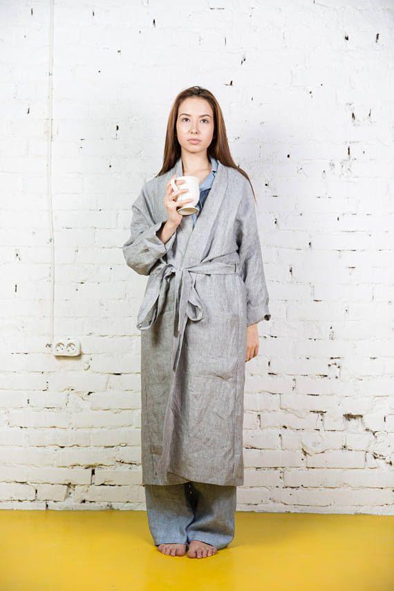 d067873184 Long linen bath robe women / Womens robe / Plus size linen robe women /  Sleepwear linen bathrobe women | 543 Cabana Amenities | Robe, Sleepwear  women, ...