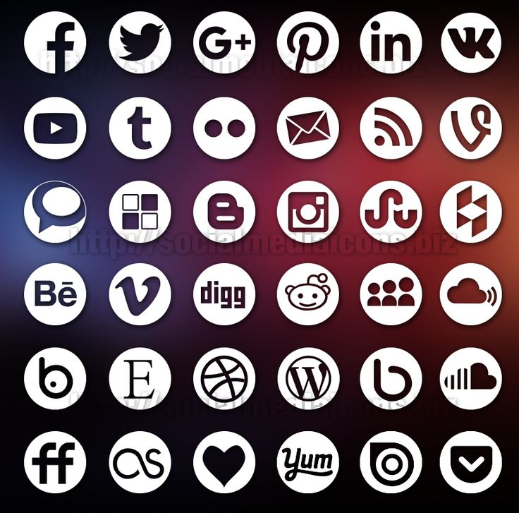 36 Round Social Media Icons - PSD + EPS/Ai Vectors + PNGs icons in 3 sizes ready to Use - Beautiful Professional Premium iconset with transparent background
