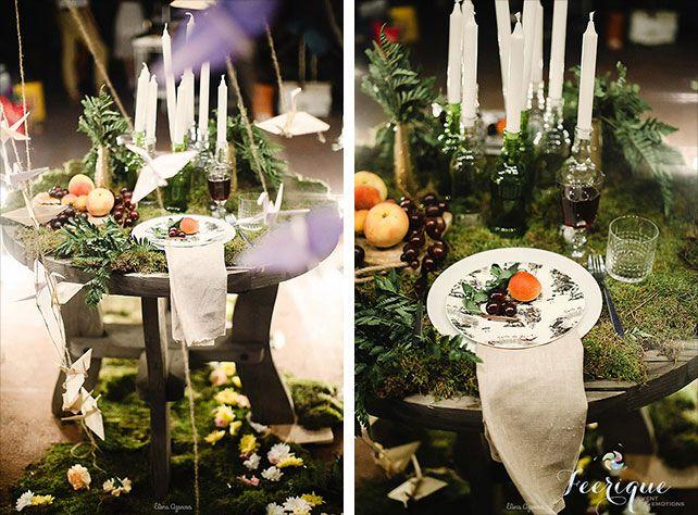 Свадьба для двоих на крыше, декор свадебного стола