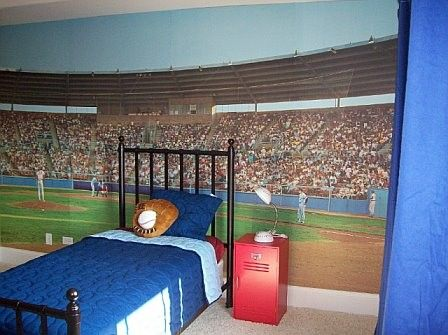 Baseball stadium wall mural baseball nursery ideas for Baseball stadium mural wallpaper