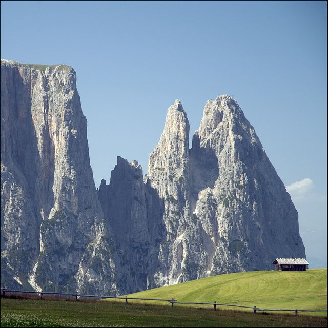 THE DOLOMITES...Tucked into the extreme northeast corner of Italy, these mountains are home to Europe's largest Alpine meadow.  Winter skiing and summer hiking surround the region's main town of Bolzano.  RM