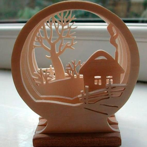 Winter Tunnel, 3D Picture From Plywood, Xmas dec, Tunnel of winter plywood, Laser cut digital, new y