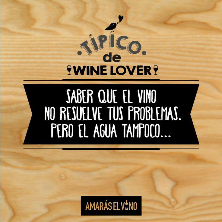"""#TipicodeWinelover: """"Saber que el vino no resuelve tus problemas... pero el agua tampoco"""" #AmarasElVino #Wine #Vino #WineHumor"""