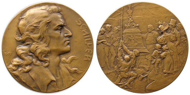 Personen Bronze Schiller Friedrich (1759-1805), Dichter, auf seinen 100. Todestag, Brustbild nach rechts / Hebung der Glocke Concordia, S Medaille 1905 vz