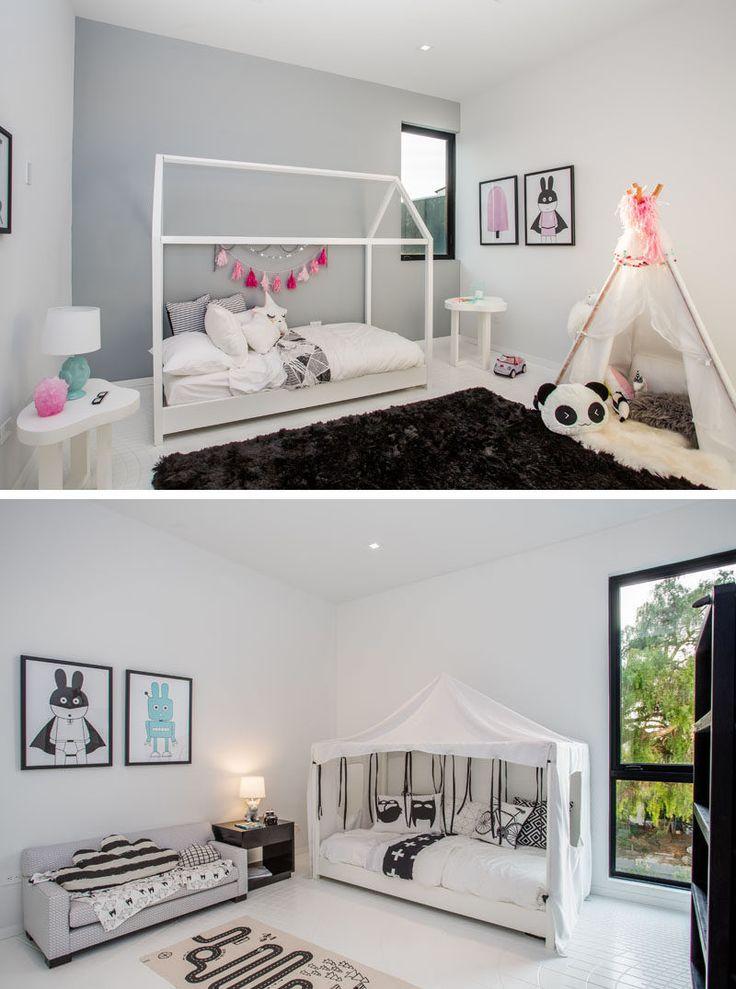 Этот современный дом имеет несколько прихотливые детские спальни.