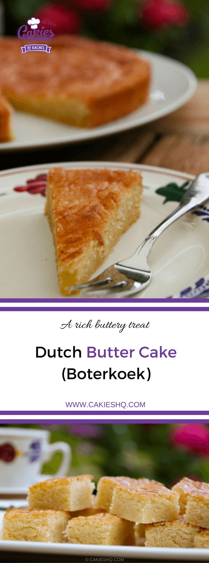Dutch butter cake (boterkoek) is a traditional moist, flat cake with crispy edges. Butter cake (boterkoek) is a delicious Dutch treat to indulge in. #recipe #dutchrecipe