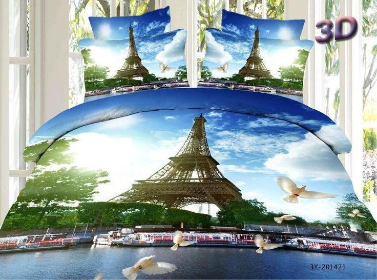 3d parijs eiffeltoren vogel dekbed beddengoed set queen size sprei dekbedovertrek bed in een zak foliën mode in van op Aliexpress.com