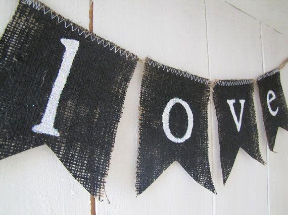 love. Wedding Photo Prop Children Burlap Banner in by funkyshique