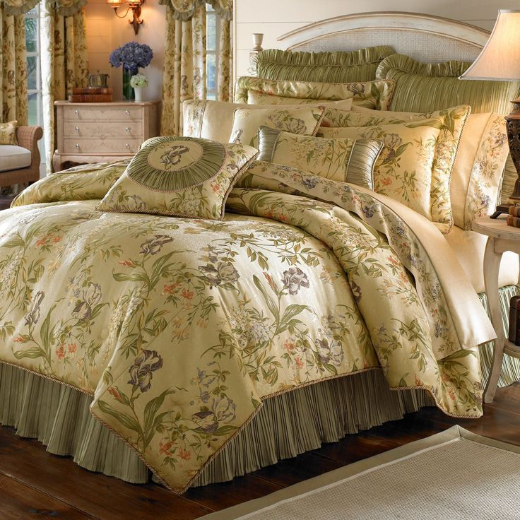 Featuring a graceful floral pattern in muted pastels, this bedding collection lends a serene, traditional touch to your decor. The set includes coordinating pillow shams, a bed skirt and a plush comforter that reverses to a solid color.