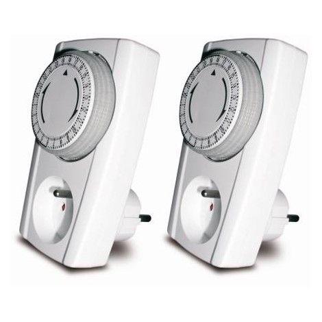 Lot de 2 prises programmables mécaniques 24h - Noir & Blanc - 000100 - Electricité