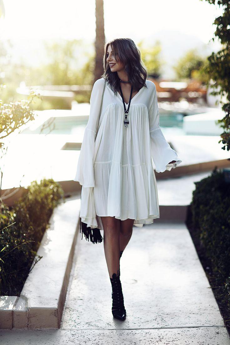 The White Hippie Dress   H&M dress, Diesel Shoes