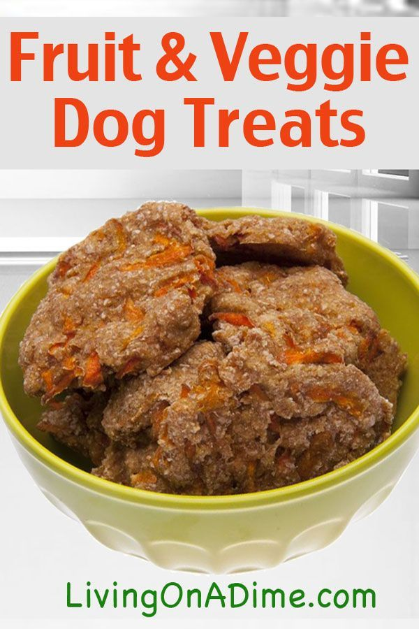 Fruit and Veggie Dog Treats 1 sweet potato, cooked 1 banana  1 cup carrots, minced 1/2 cup applesauce 2 cups white or whole wheat flour 1 cup rolled oats 1/3 cup water  Mash the sweet potato and banana together well. Add the rest of the ingredients. Roll out on a floured board 1/8 inch thick. With a pizza cutter, cut into strips and place on greased cookie sheet. Bake at 350 degrees for 25 minutes. Store in a refrigerator for up to 2 weeks.
