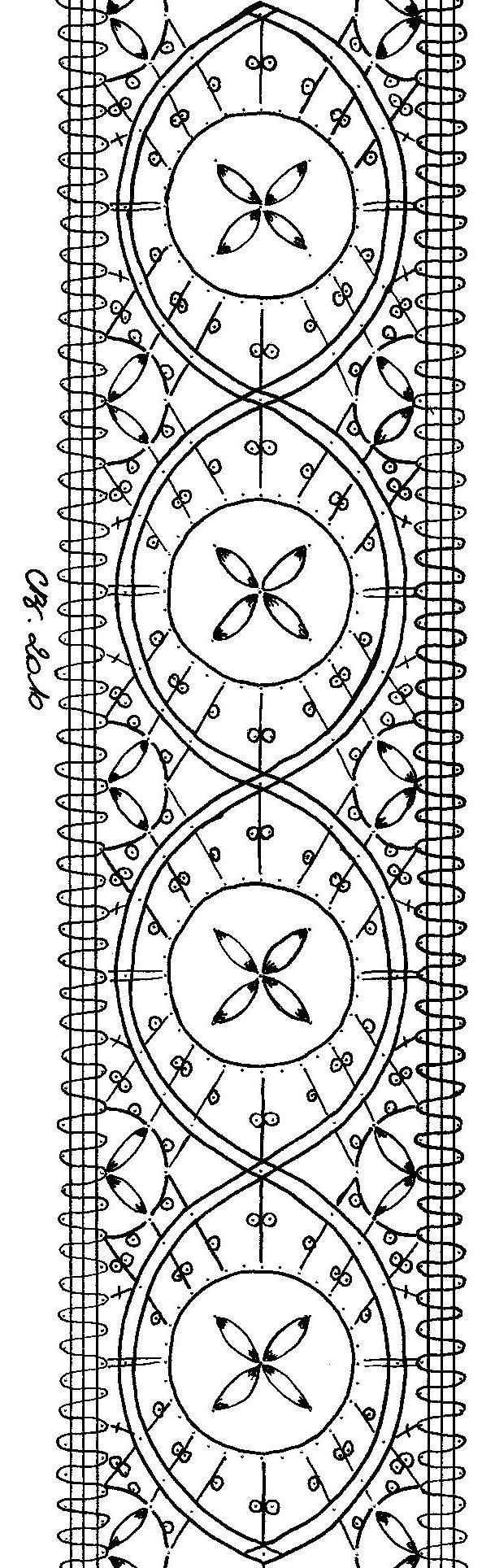 Carton Dentelune R3   Il est indiqué sur le carton d'origine 3/4 d'heure par fleur!   Sa forme s'est allongée et de nouveaux pointons sont apparus.    L'entre-deux mesure 6,5 cm de large.   Fil de lin 50/2