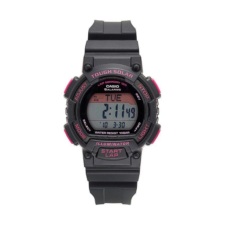 Casio Men's Tough Solar 120-Lap Digital Runners Watch - STLS300H-1CCR, Black