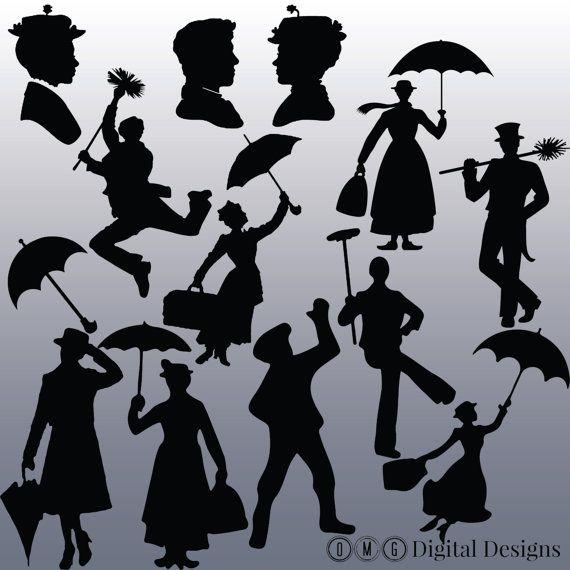 12 Mary Poppins Silhouette Images Clipart, Clipart Design éléments, téléchargement immédiat, noir Silhouette clipart