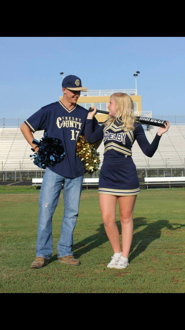Cheerleading baseball senior pictures cute couple football field