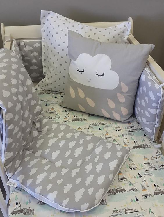 Our #IndianSummer fabric matches so nicely with our #Clouds! Perfect for any #BabyBoy who's born for #adventure!  #BabyBedding #BabyLinen