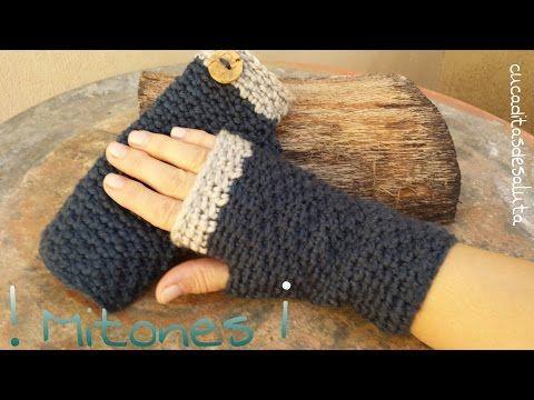 Mitones (Guantes sin dedos ) a Crochet / Punto cruzado - YouTube