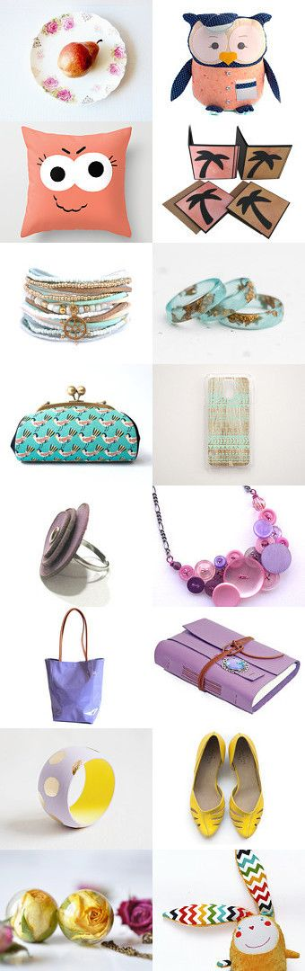 Fresh Summer gifts  by Elena Doniy on Etsy--Pinned+with+TreasuryPin.com  #summer2016 #etsytrends #trends2016 #fresh #woman #mint #purple #yellow #peach