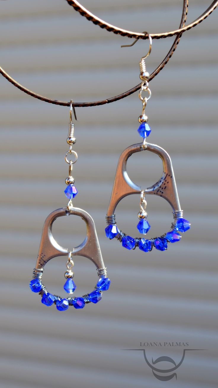 Earrings made of cans with tabs
