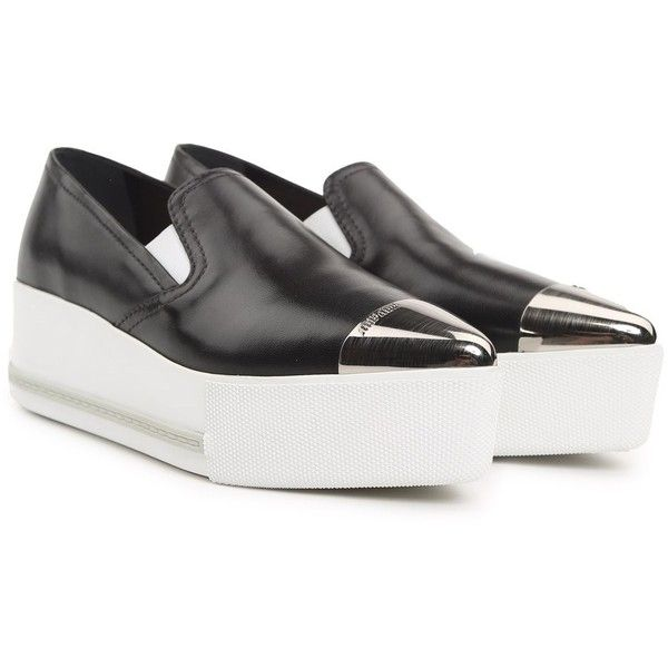 Miu Miu Metal-Trimmed Leather Platform Slip-on Sneakers ($585) ❤ liked on Polyvore featuring shoes, sneakers, nero, black slip-on sneakers, leather platform sneakers, black shoes, leather slip-on shoes and black leather sneakers
