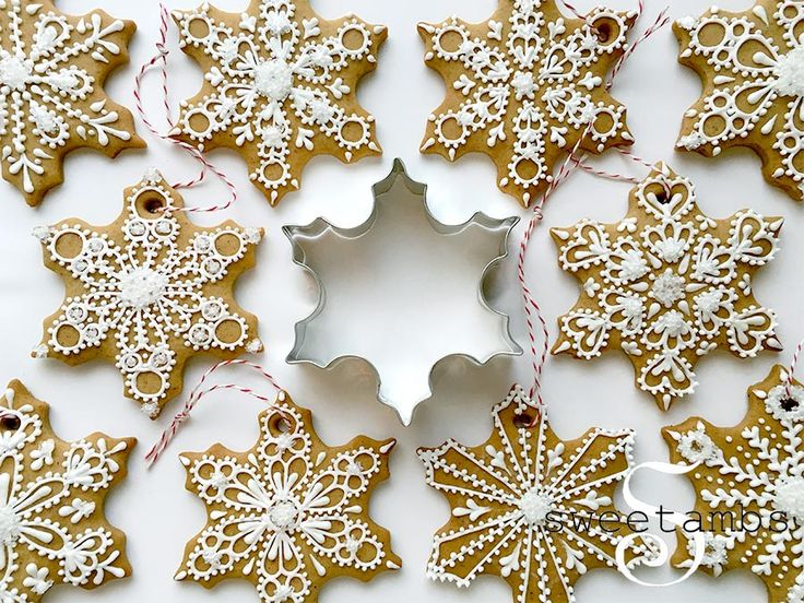 I love decorating the tree with edible ornaments! These snowflake cookies were made using mygingerbread cookie recipe, which you can find here. -- Thesnowflake cookie cutterthat I used for this project is available atAnnClarkCookieCutters