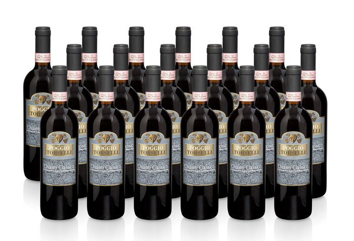 2008 Translator Poggio Torselli Chianti Classico DOCG 18 flessen van 75 cl elke.  Tasting notes: Intense ruby red colour Bouquet of ripe fruits with red beers cherries and vanilla. Alcohol content: 13.3% vol Grapes: 85 % Sangiovese 15% Cabernet Sauvignon Drinking and storage wine. Serving temperature 16-18 C Serving suggestion: red and white meat (poultry wild game on skewers sheep) Insured shipping  EUR 30.00  Meer informatie
