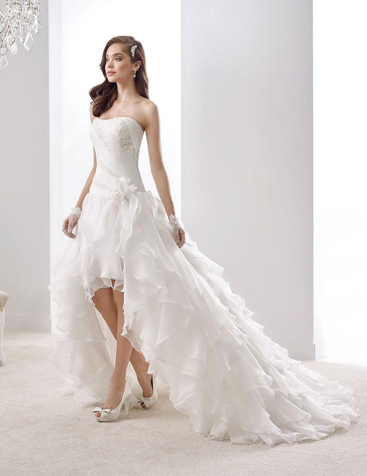 Pas cher Court Long Front retour robe de mariée avec Organza volants ...