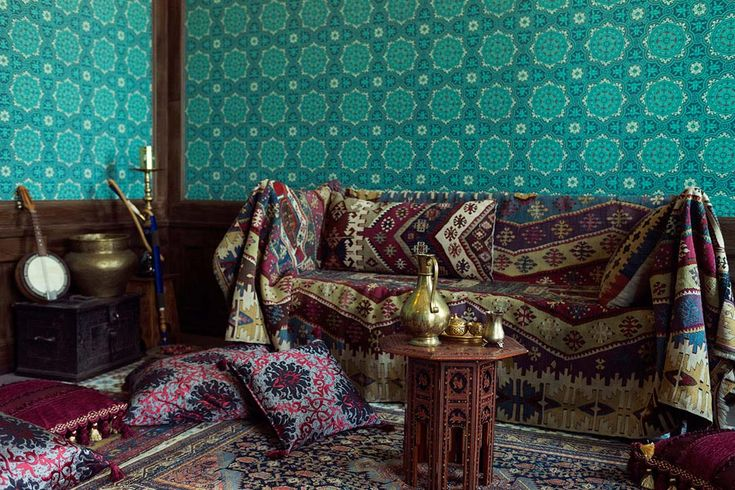 mosaic inlaid walls and floors or couches covered in fine fabrics