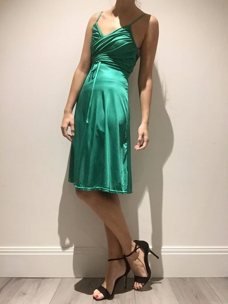 PREOWNED- TOPSHOP Dress- UK Size 8- Emerald Green Cocktail - Strap Dress