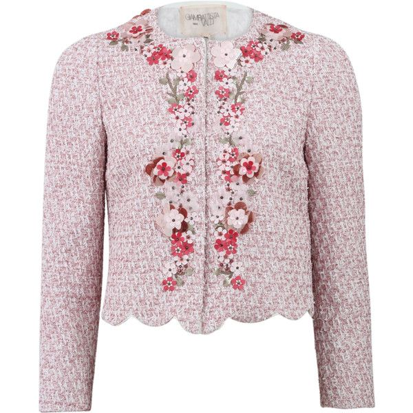 Giambattista Valli Jeweled Tweed Jacket (16.610 RON) ❤ liked on Polyvore featuring outerwear and jackets