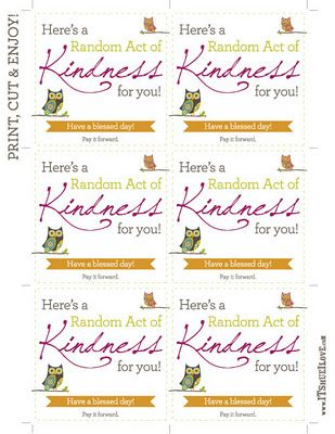 Random acts of kindness printable - and a great blog post of what a 32 year old did on her birthday. Great list!