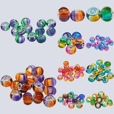 1/5Pcs Lampwork Gradient Murano Glass European Faceted Charm Beads Fit Bracelet